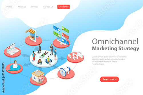 Foto Isometric flat vector landing page template of omnichannel, several communication channels between seller and customer, digital marketing, online shopping