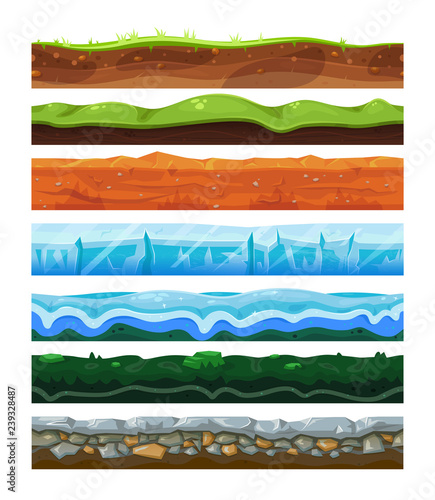 Seamless land horizontal layers set, geology and environment concept Fototapet