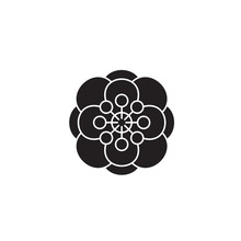 Anemone Black Vector Concept Icon. Anemone Flat Illustration, Sign, Symbol