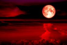 Blood Moon On Sky Line Heap Cl...