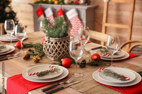 Fototapeta Beautiful table setting for Christmas dinner obraz