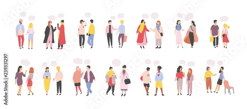 Collection of men and women standing and speaking, talking, chatting, delivering verbal messages to each other isolated on white background Fototapet