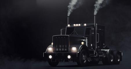 Klasyczna czarna ciężarówka na ciemnym tle z dymem (ilustracja 3D)