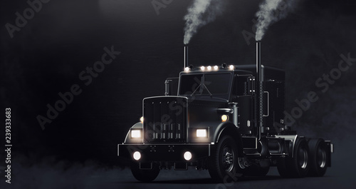 Classic black semi truck on dark background with smoke (3D illustration)