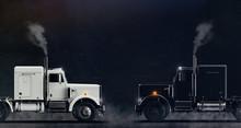 Two Classic Semi Trucks Facing...