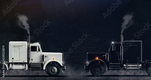 Fotografía Two classic semi trucks facing each other side view on dark background with some