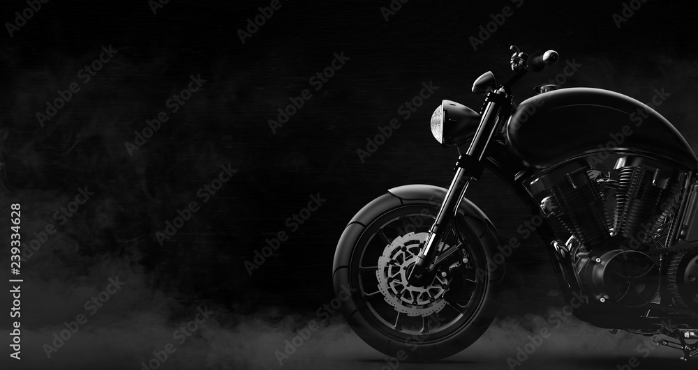 Fototapeta Black motorcycle detail on a dark background with smoke, side view (3D illustration)