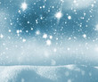 Winter christmas background with shiny snow and blizzard. Winter background with starry sky.