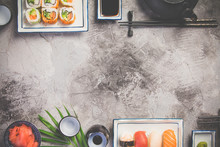 Flat-lay Of Sushi Set On Grey ...