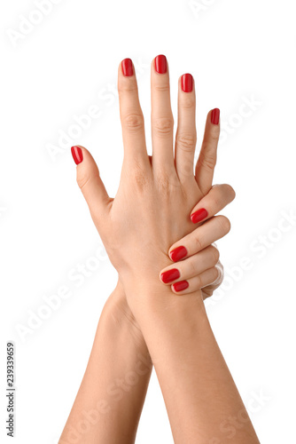 Photo Female hands with manicure on white background