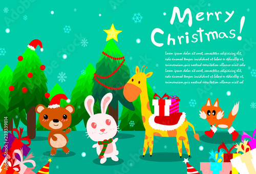 Merry Christmas Background With Cute Animal At Forest Happy