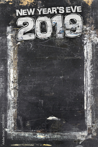 Fotografia  2019 Happy New Year Grunge Background for your flyers, greetings card and dinner menu