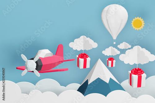 papierowy-styl-rozowy-samolot-latajacy-i