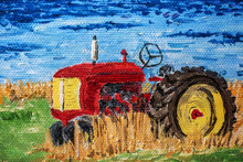 Oil Painting Detail Of An Old Vintage Tractor.