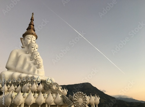Prathat Phasornkaew temple with 5 white big buddha in the morning and sky fall, Wallpaper Mural