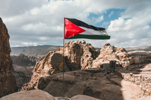 Palestine Flag On The Top Of Mountain In Palestine
