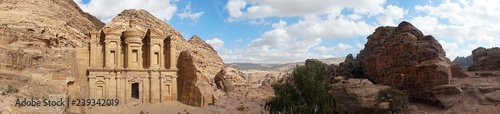 Foto auf AluDibond Schokobraun Ad-Deir-Nabataean rock temple of the I century ad, preserved near the city of Peter. a monumental building carved entirely from the rock. Lost city in the mountains. Panoramic view of Petra