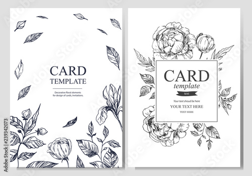 Fototapety, obrazy: Invitation or greeting card template design with floral hand drawn elements on light background. Vector