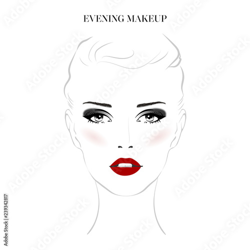 d0a6155fdc7 Beautiful woman face with smokey eyes make-up and red lips hand drawn  vector illustration. Stylish original graphics portrait with young girl  model.