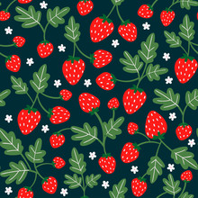 Tasty Strawberries On Branches. Hand Drawn Vector Seamless Pattern. Black Background