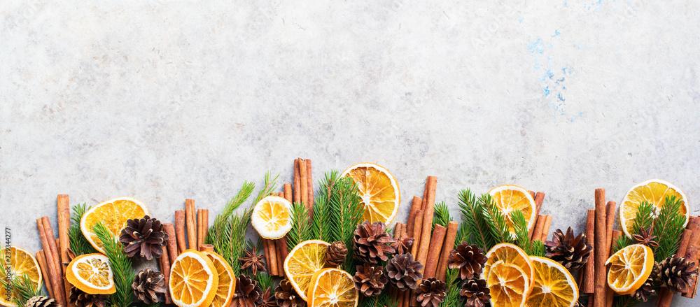 Fototapety, obrazy: Sticks cinnamon fir tree branches pine cones
