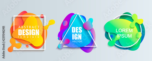 Set of liquid gradient color abstract geometric shapes.Modern banner with fluid design.Circle, triangle and square frames with wavy brighr splashes.Ready template for web, print, covers, design, logo. - 239346248
