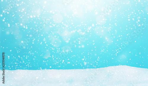 Foto auf Gartenposter Turkis Winter snowfall landscape background with snow hill