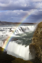 Gullfoss, Europe's Biggest Waterfall, With Rainbow Created By Spray From The Falls, Near Reykjavik, Iceland, Polar Regions