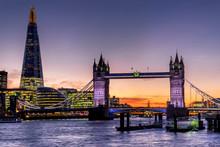 Shard With Tower Bridge Sunset