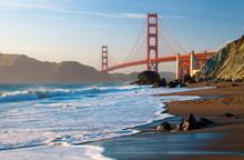 Golden Gate Bridge From Marshall Beach, San Francisco, California, United States Of America, North America