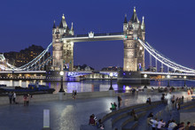Tourists In Front Of City Hall, River Thames And Tower Bridge, London, England, United Kingdom, Europe