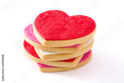 Photo  Heart-shaped cookies for Valentine's Day isolated on white background