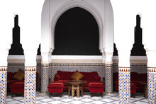 Sofa And Table Under Arabian Arch