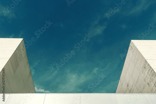 Abstract architecture. Close up of two buildings facade.