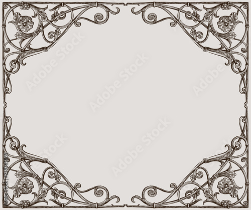 Vector drawing of a decorative frame in art nouveau style Wall mural