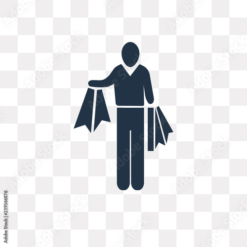 Photo  Shopper Man vector icon isolated on transparent background, Shopper Man  transpa
