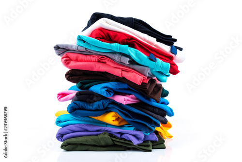 Fotografia Stack of Colorful cotton T-shirt isolated on white background.