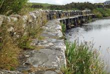 Clapper Bridge Over Carrownisky River, Ireland County Mayo Killeen Bunlahinch