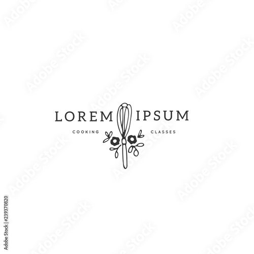 Slika na platnu Kitchen logo template, whisk with flowers