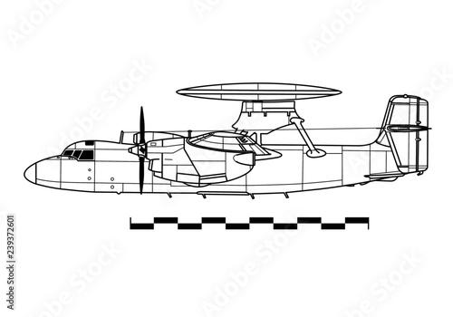 Photo  Grumman E-2A HAWKEYE. Outline drawing