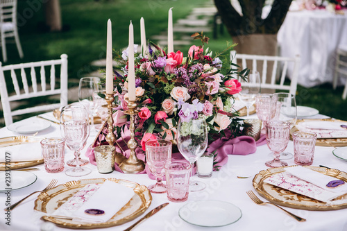 Wedding table decoration. Italy wedding.