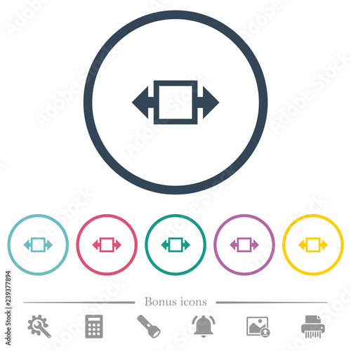 Fotografija  Width tool flat color icons in round outlines