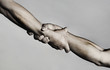 canvas print picture - Rescue, helping gesture or hands. Strong hold. Two hands, helping hand of a friend. Handshake, arms, friendship. Friendly handshake, friends greeting, teamwork, friendship. Close-up. Black and white