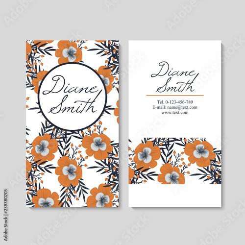 Fototapety, obrazy: Business card with beautiful flowers. Template