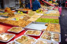 Food In Carmel Market, Tel Aviv, Isreal. Delicious Sweet Food.
