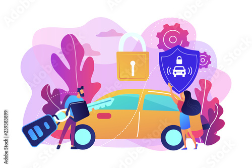 Businessman with car remote key and woman with shield at car with padlock Wallpaper Mural