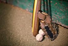 Leather Baseball Mitt Next To ...