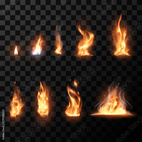Realistic flame set Wallpaper Mural
