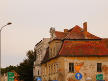 Old Building And Nearby Road Signs, Zary, Lubuskie Voivodeship, Poland