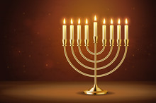 Golden Realistic Menorah, Candlestick With Burning Candles, Hanukkah Holiday, Celebration, Candelabrum, Traditional Israel Decoration, Vector Illustration